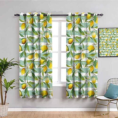 Nature Home Decor - Cortinas correderas para puerta corredera, diseño de árbol de limón sobre rayas, color verde y amarillo