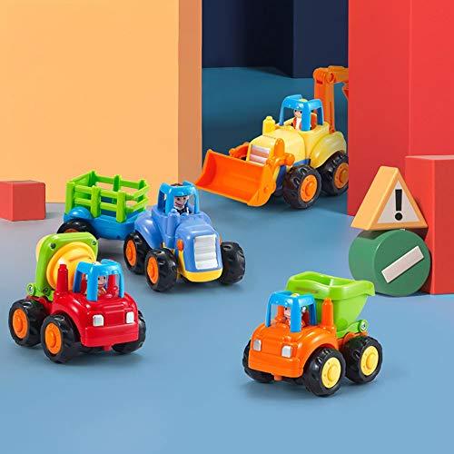 Xolye Baufahrzeug Serie Set Kombination Spielzeug Auto Müllwagen Mixer Bulldozer Bauerntraktor Modell 2-4 Jahre alt Baby Pädagogisches Spielzeug Auto Geschenk