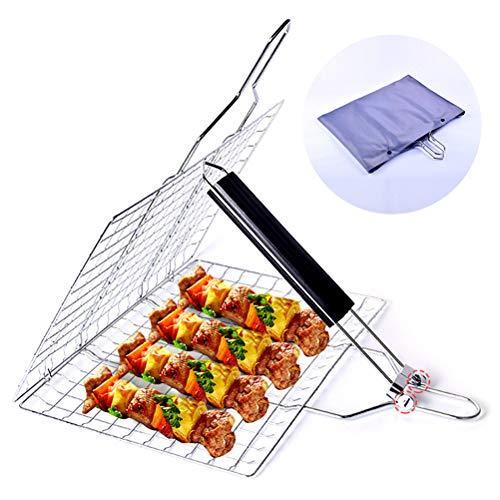 Bovoya - Parrilla para barbacoa con rejilla extraíble y plegable, plegable, para barbacoa, pescado, carne, verduras, para exteriores, Family Party BBQ