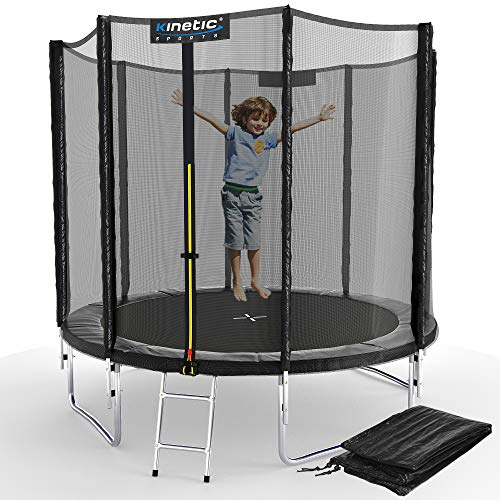 Kinetic Sports Outdoor Gartentrampolin Ø 244, TPLS08, inklusive Sprungtuch aus USA PP-Mesh +Sicherheitsnetz +Rand- u. Regen-Abdeckung +Leiter, bis 120kg, GS-geprüft,UV-beständig, SCHWARZ