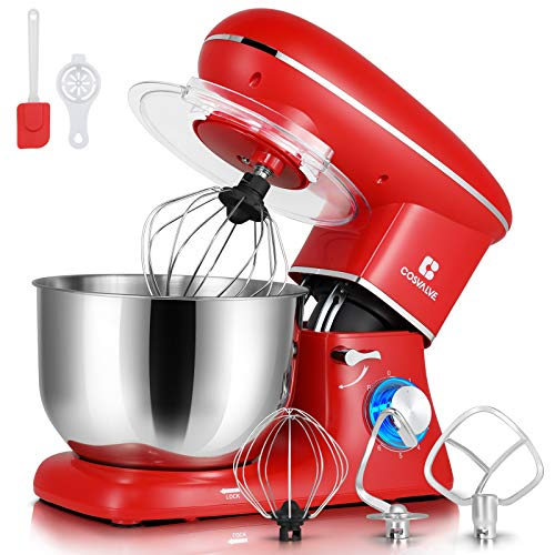 COSVALVE Stand Mixer,6.2-QT 660W 6-Speed Food Processing, Tilt-Head Food Mixer with Stainless Bowl, Kitchen Electric Mixer with Dough Hook, Wire Whip & Beater (6.2 Qt. Red)