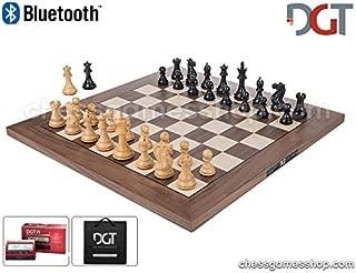 DGT Bluetooth Walnut e-Board with Ebony Pieces - Electronic Chess - chessgamesshop_com PI + Bag Black