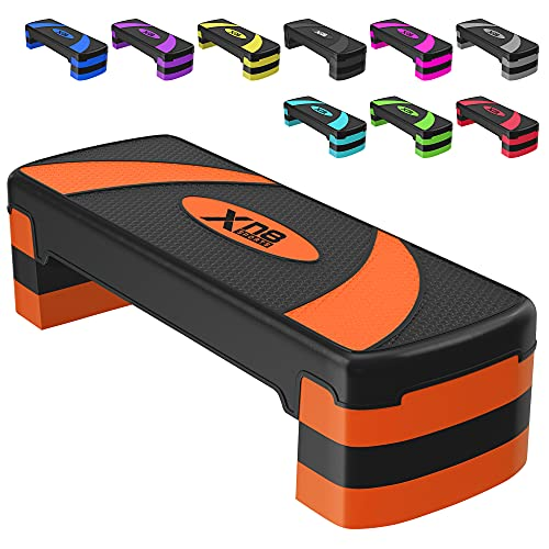 XN8 Step Fitness - aeróbic escalón - paso aeróbico ajustable - Fitness Step para ejercicios en casa (Naranja)
