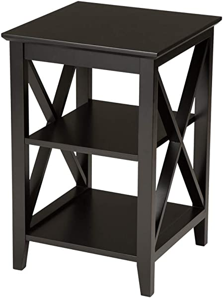 Glitzhome 3 Tier End Table 23 Inches Night Stand X Frame Sofa Side Table Espresso Furniture Decor