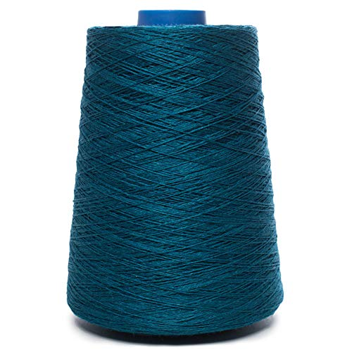 Lusie's Linen Yarn - 100% Linen - 1.15 lb (18oz) Cone - Turquoise Color - for Weaving, Crocheting, Knitting, Embroidery (3-PLY)