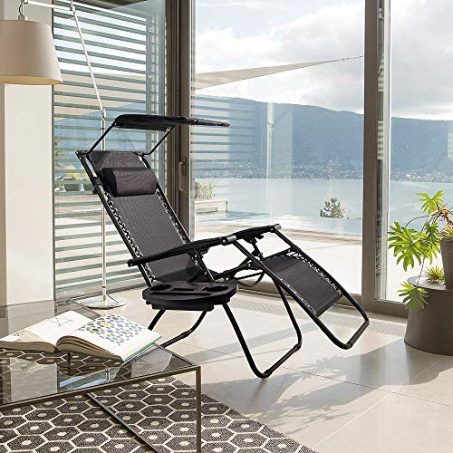 Devoko Patio Zero Gravity Chair Outdoor Recliner Lounge Chair with W/Folding Canopy Shade and Cup Holder (Black)