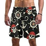 Lorvies, costume da bagno da uomo a forma di teschi, pirati, con ancore, da spiaggia, ad a...