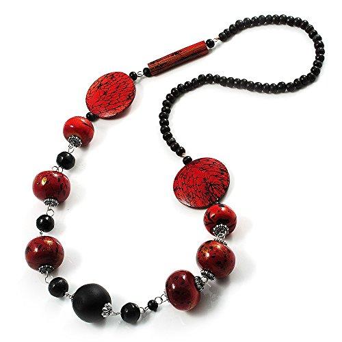 Collana con perline in legno, elegante, con stampa animalier (nero e rosso)