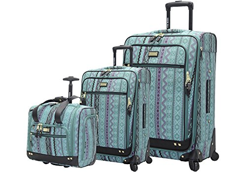 Steve Madden Designer Luggage Collection- 3 Piece Softside Expandable Lightweight Spinner Suitcases- Travel Set includes Under Seat Bag, 20-Inch Carry on & 28-Inch Checked Suitcase (Legends Turquoise)