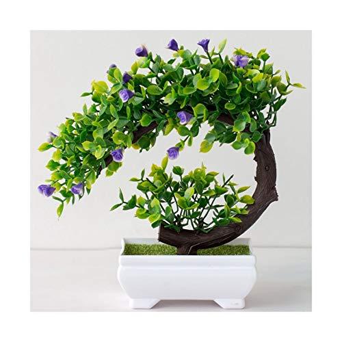 ADosdnn Künstliche Kunststoff Bonsai-Fälschungs-Pflanzen-Blumen-Hochzeit Home Decor Garden Hotel Topf Artificial Fake Plastic Bonsai Pflanze Baum (Color : Yueya Violet)