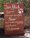 Dekostüberl Rostalgie Edelrost Tafel Das Glück beginnt mit Einer feuchten Nase.Haustier Garten Terrasse Schild Spruch Hund Geschenk Text Deko