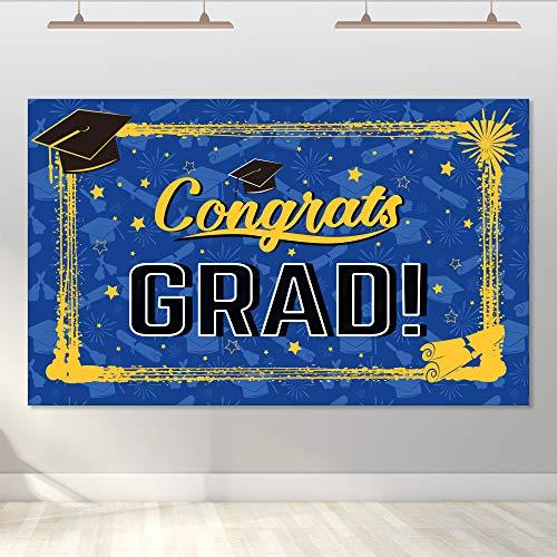 Jocacti - Pancarta de graduación para fiestas de graduación 2020, color azul