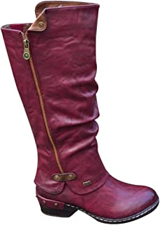Glomiss Women Western Cowboy Knee Boots Punk Boots Low Thick Heel Side Zippper Booties