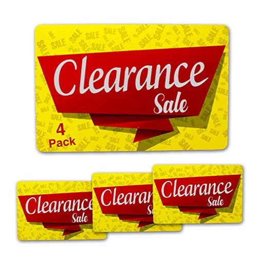 Clearance Sale Sign Durable for Retail Stores, Shops, Sales, Discounts | 8 x 12 inch Full-Color PVC Signs (4 Pack)