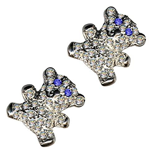 Pendientes de plata de ley 925, diseño de oso de peluche, color blanco y azul, con circonitas, cristales de estrás, amor, fe, esperanza, emoción, símbolo, diseño, objeto, color blanco, extravagante