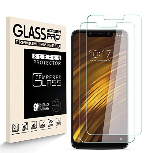 HJX Panzerglas Schutzfolie für Xiaomi Pocophone F1, 9H-Festigkeit Tempered Glass, Anti-Kratzer, Blasenfrei, Anti-Fingerabdruck Bildschirmschutzfolie für Xiaomi Pocophone F1 [2 Stück]
