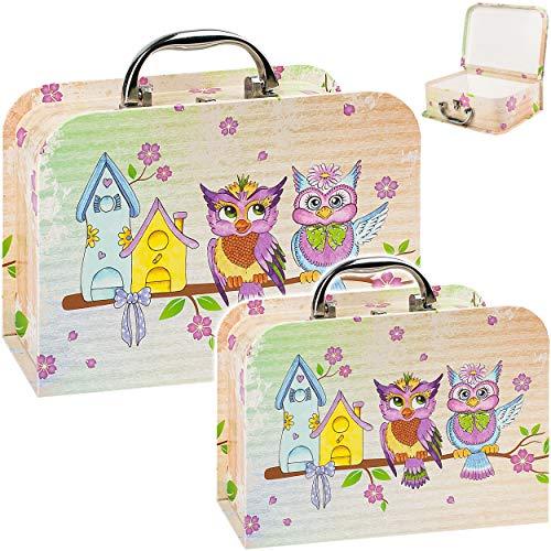 alles-meine.de GmbH 2 Stück _ Koffer / Kinderkoffer - in 2 verschiedenen GRÖßen - lustige Eule & Blumen - Kofferset - Kofferset - ideal für Spielzeug und als Geldgeschenk - Mädch..