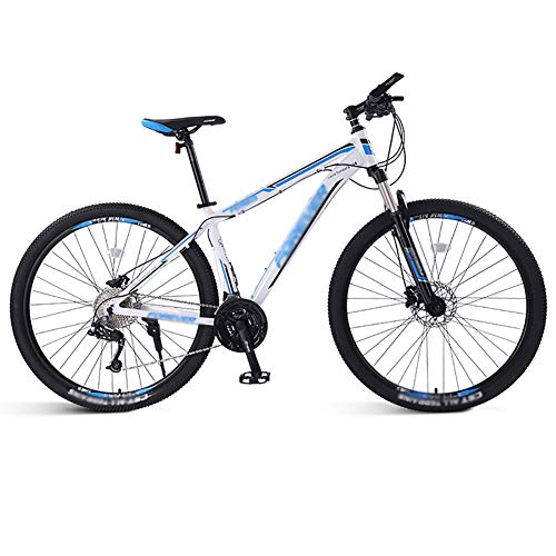 ZHYLOVE Double Disc Brake Hardtail Mountain Bike 26 Inch Aluminum Alloy MTB Mountain Bicycle with Front Suspension Adjustable Seat 33 Speed Mountain Bike Unisex,White