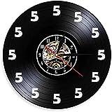 mbbvv Reloj de Pared Five O'Clock Reloj de Pared Beer Time Disco de Vinilo Reloj de Pared Divertido montado en la Pared Decoración del hogar Regalos para los Amantes de la Cerveza