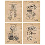 Vintage Indian Motorcycle Patent Poster Prints, Set of 4 (8x10) Unframed Photos, Wall Art Decor Gifts Under 20 for Home, Office, Garage, Studio, Shop, College Student, Teacher, Bike Touring Fan