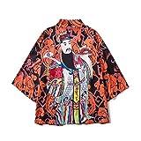 SYXYSM Hombres Kimono Rebeca Hombres De La Camisa Blusa Yukata Haori OBI Ropa De La Ropa De Samurai Kimono Masculino Chaqueta De Punto (Color : Style H, Size : M)