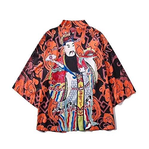 QIFENJ X Hombres Kimono Rebeca Hombres De La Camisa Blusa Yukata Haori OBI Ropa De La Ropa De Samurai Kimono Masculino Chaqueta De Punto Se avete domande Circa le dimensioni, Vi Prego di