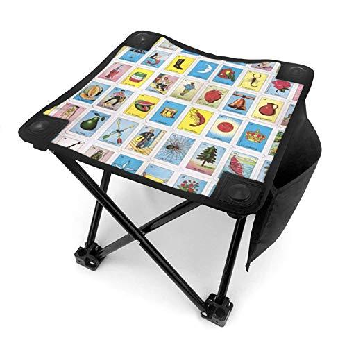 End Nazi Taburete de Camping portátil de Loteria Mexicana Colorida, sillas Plegables, sillas...
