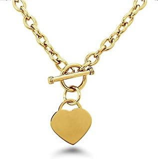 High Polished Gold Plated Noureda Stainless Steel Heart Charm Cable Chain Necklace with Toggle Clasp (Length: 18