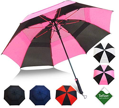 "Repel Umbrella Golf Umbrella - 60"" Vented Double Canopy with Triple Layered Reinforced Fiberglass Ribs and Teflon Coating, Auto Open (Black & Pink)"