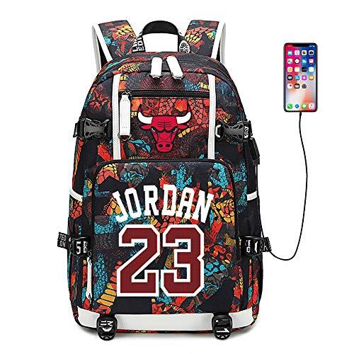 Lorh s store Jugador de Baloncesto Estrella Michael Jordan Mochila multifunción Estudiante