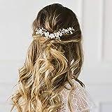 Edary Brautschmuck, Blume, Hochzeit, Haarreif, silberne Perlen, Haarschmuck, Brautschmuck für Frauen und Mädchen