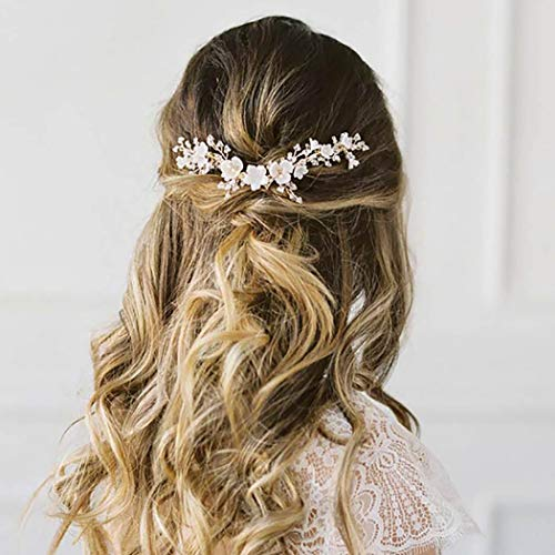 Edary Braut Blume Hochzeit Haarrebe Silber Perlen Stirnband Hochzeit Haarschmuck Braut Kopfschmuck für Frauen und Mädchen