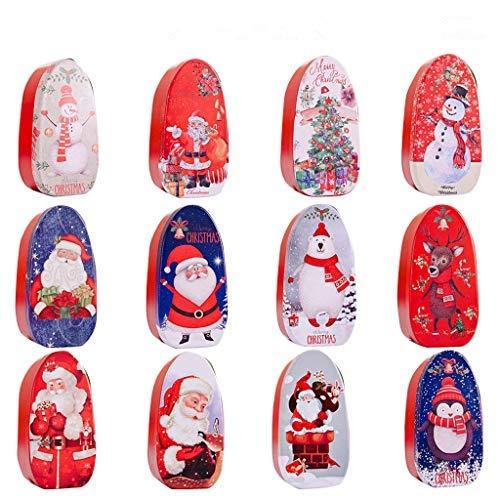 Zhichy Caja de dulces de Navidad, con grabado en relieve de Navidad, lata vacía, contenedor de almacenamiento de galletas de dulces, caja decorativa para regalo de niños