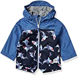 OshKosh B'Gosh boys Color Change Slicker Raincoat Rain Jacket, Navy Shark Color Block, 7 US