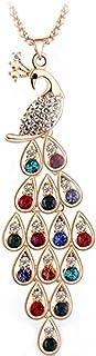LUFA Collana pendente delle donne Pavone variopinto maglione lungo principessa di cristallo catena