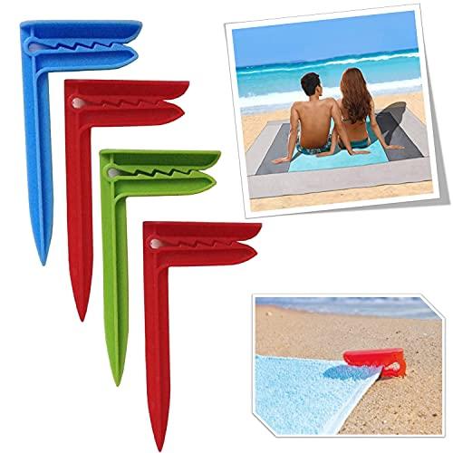 parpyon® Accesorios para la playa n.º 4 piquetas para toalla de playa pinzas toalla playa sujeta mantel bolsa térmica playa (Fermatov.)