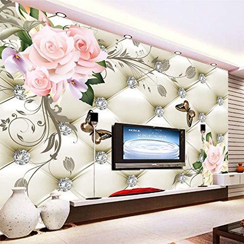 Europäische Art Soft Pack Schmetterling Blume 3D Wandtapete Wohnzimmer Schlafzimmer Landschaft Dekor Wandmalerei Luxus Tapete-430Cmx300Cm