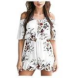 Taiduosheng Women's Off-Shoulder V-Neck Floral Print Short Romper Jumpsuit XL