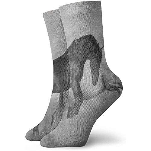 Dydan Tne Crew Socken Schwarz-Weiß-Pferd Artwork Athletic Socks Designer Short Boot Strumpf