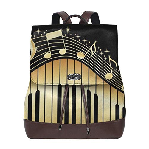 Flyup Abstract Piano and Music Women Leather Backpack for Travel Shopping Casual Laptop Fashion Bag Mochila de cuero para mujer