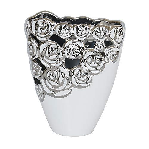 Wunderschöne Dekovase Blumenvase mit Rosenmuster aus Keramik weiß/silber Höhe 22 cm Breite 18 cm