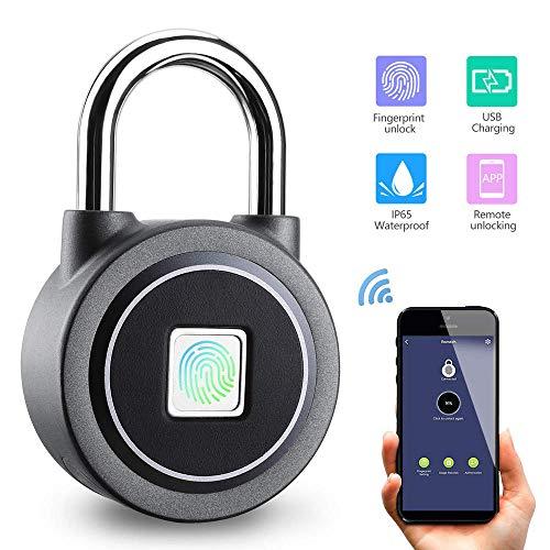 DYWLQ Fingerabdruck Vorhängeschloss-Smart Bluetooth/Fingerabdruck/App entsperren Wasserdichtes Schloss Ideal für Fitnessstudio, Tür, Gepäck, Koffer, Rucksack, Fahrrad, Büro