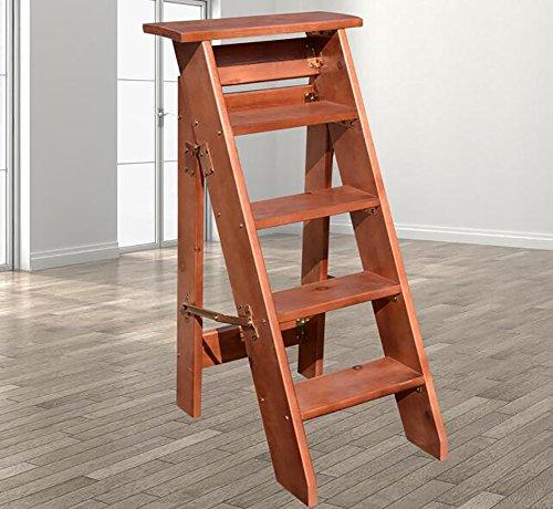ZfgG Échelle de ménage à 5 Niveaux, Solide, échelle en Bois Pliante, Renfort, échelle à Cinq marches, Petite échelle, Mezzanine, échelle, Plateau (Color : C)