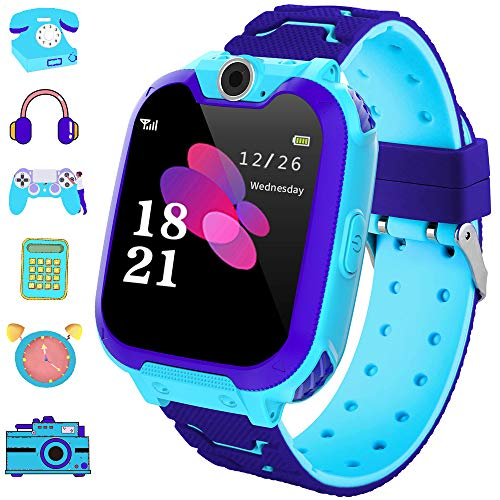 Smart Watch Phone for Kids Dial Touch Screen Camera Games Music Recording Calculator Girl and Boys Best Gift (S10-blue)