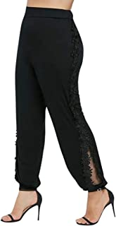 Hyioammb Palazzo Lounge Leggings Women Baggy Lace Solid Splice Trousers Elastic Waist Pants