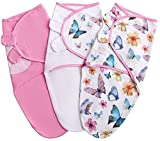 Baby Swaddle Blanket for Newborn Girl, 0-3 Months Small/Medium, 3 pcs Infant Swaddle Sack in a Gift Box, 100% Cotton Adjustable Swaddle Wrap, Pink