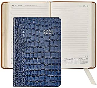 $102 » 2021 Sapphire-Blue Croco-Embossed 8-in Daily Journal Leather by Graphic Image - 5.5x8