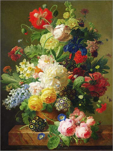 Posterlounge Leinwandbild 70 x 90 cm: Blumenbukett auf Marmortisch von Jan Frans Van Dael/Bridgeman Images - fertiges Wandbild, Bild auf Keilrahmen, Fertigbild auf echter Leinwand, Leinwanddruck