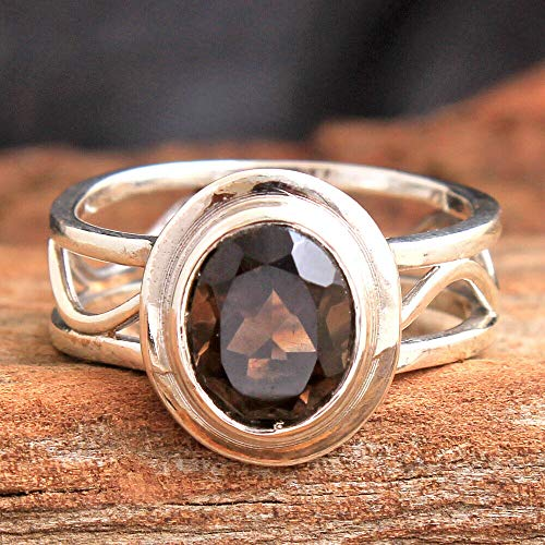 Smokey-Quartz 925 Sterling Silver Rings for Women, Brown Bridesmaid Rings, Oval Gemstone Rings, Statement Rings, bezel Set Handmade Rings