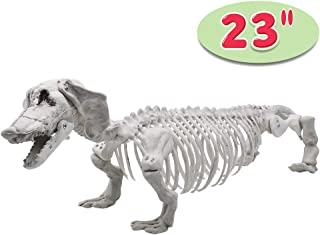 """Halloween Decoration 23"""" Pose-N-Stay Wiener Dog Skeleton Plastic Puppy Bones with Posable Joints for Pose Skeleton Prop Indoor/Outdoor Spooky Scene Party Favors Décor."""